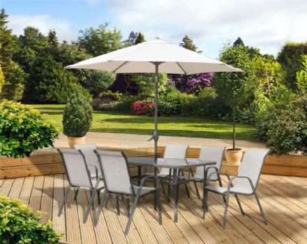 Pagoda Rhodes 6 Seat Set - With Parasol